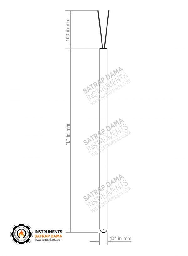 شماتیک محصول ترموکوپل غلاف دار بدون رزوه